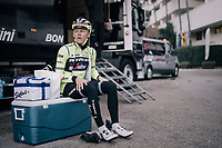 Toms SKUJIŅŠ (LVA/Trek-Segafredo) getting ready for a training ride<br /> <br /> Team Trek-Segafredo men's team<br /> training camp<br /> Mallorca, january 2019<br /> <br /> ©kramon