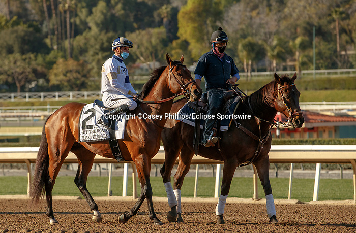 ARCADIA, CA  MARCH 6: #2 Hit the Road, ridden by Florent Geroux, in the post parade of the Frank E. Kilroe Mile (Grade l) on March 6, 2021 at Santa Anita Park in Arcadia, CA..   (Photo by Casey Phillips/EclipseSportswire/CSM)