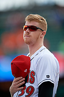 Indianapolis Indians Cam Vieaux (39) during the national anthem before an International League game against the Syracuse Mets on July 17, 2019 at Victory Field in Indianapolis, Indiana.  Syracuse defeated Indianapolis 15-5  (Mike Janes/Four Seam Images)