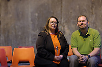 "Pictured L-R: Community cast members Sian and Chris James <br /> Re: Press rehearsal of ""We'Re Still Here"", a play created by Rachel Trezise, Common Wealth and the National Theatre Wales about steelworkers, which will be performed in Byass Works, a disused industrial unit, in Port Talbot, south Wales, UK."