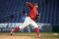 Clearwater Threshers relief pitcher Jesen Therrien (34) delivers a pitch during a game against the Charlotte Stone Crabs on April 12, 2016 at Bright House Field in Clearwater, Florida.  Charlotte defeated Clearwater 2-1.  (Mike Janes/Four Seam Images)
