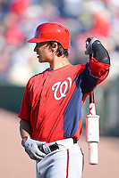 Washington Nationals shortstop Zach Walters #60 on deck during a Spring Training game against the Philadelphia Phillies at Bright House Field on March 6, 2013 in Clearwater, Florida.  Philadelphia defeated Washington 6-3.  (Mike Janes/Four Seam Images)