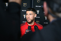 SEATTLE, WA - NOVEMBER 9: Jonathan Osorio #21 of Toronto FC talks to the media at CenturyLink Field on November 9, 2019 in Seattle, Washington.