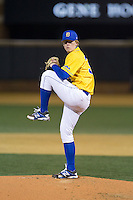 Delaware Blue Hens starting pitcher Chad Martin (38) in action against the Wake Forest Demon Deacons at Wake Forest Baseball Park on February 13, 2015 in Winston-Salem, North Carolina.  The Demon Deacons defeated the Blue Hens 3-2.  (Brian Westerholt/Four Seam Images)