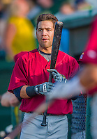 8 July 2015: Mahoning Valley Scrappers outfielder Ka'ai Tom warms up prior to a game against the Vermont Lake Monsters at Centennial Field in Burlington, Vermont. The Lake Monsters defeated the Scrappers 9-4 to open the home game series of NY Penn League action. Mandatory Credit: Ed Wolfstein Photo *** RAW Image File Available ****