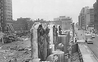1966 FILE PHOTO - ARCHIVES -<br /> <br /> <br /> <br /> Bank figures add up beautifully; The classical stone figures on the old Toronto-Dominion bank at King and Bay Sts. still stand; though the rest of the building has been reduced to rubble to make way for the T-D Centre and the 56-storey tower.