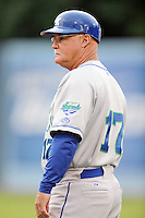 Lexington Legends coach Glenn Hubbard #17 during a game against the  Asheville Tourists at McCormick Field on May 14, 2014 in Asheville, North Carolina. The Legends defeated the Tourists 11-2. (Tony Farlow/Four Seam Images)