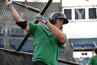 Daytona Tortugas catcher Cam Maron (7) in the batting cage during practice before a game against the Tampa Yankees on April 24, 2015 at George M. Steinbrenner Field in Tampa, Florida.  Tampa defeated Daytona 12-7.  (Mike Janes/Four Seam Images)