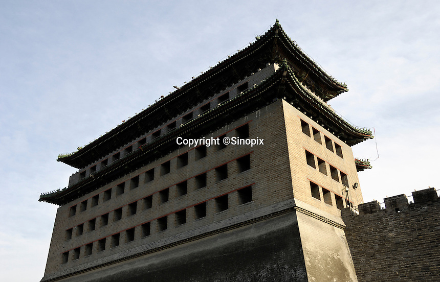 Embrasured tower of Deshengmen Gate(Victory Gate Tower) in Beijing, China. .14 Apr 2007