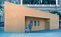 """Los Angeles: Pershing Square--""""Drop-in"""" Police Substation. (At first I thought this was a temporary structure of plywood.)"""