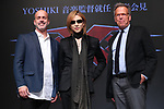 """Yoshiki, movie director D.J. Caruso and  Producer Mark Johnson attend the press conference for Hollywood movie """"xXx 4"""" in Tokyo, Japan on January 25. Yoshiki has been appointed as the music director for the movie starring Vin Diesel."""