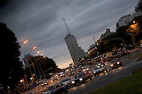 9 de Julio Avenuein Buenos Aires. At 140 meters it is one of the world? widest avenues. Its name honors Argentine Independence Day (July 9, 1816). Buenos Aires, Argentina
