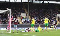 2nd October 2021;  Turf Moor, Burnley, Lancashire, England; Premier League football, Burnley versus Norwich City: Matthew Lowton of Burnley's header skims the Norwich crossbar