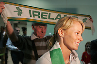 2/8/2010. Derval O'Rourke arrives back into Dublin Aiorport pictrured with Henry Gorman from Dublin. European silver-medallist Derval O'Rourke has arrived home from Barcelona.O'Rourke finished second in the 100m hurdles on Saturday night to win her second European Athletics Championship silver medal. She was presented with her medal at the Olympic Stadium in Barcelona yesterday evening. Picture James Horan/Collins Photos