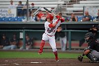 Auburn Doubledays Jake Randa (16) at bat during a NY-Penn League game against the Batavia Muckdogs on September 2, 2019 at Falcon Park in Auburn, New York.  Batavia defeated Auburn 7-0.  (Mike Janes/Four Seam Images)