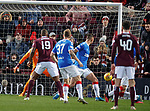 26.01.2020 Hearts v Rangers: the Ball deflects off Borna Barisic and into the net for the winning goal