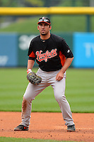 Norfolk Tides first baseman Travis Ishikawa #35 during a game against the Buffalo Bisons on May 9, 2013 at Coca-Cola Field in Buffalo, New York.  Norfolk defeated Buffalo 7-1.  (Mike Janes/Four Seam Images)
