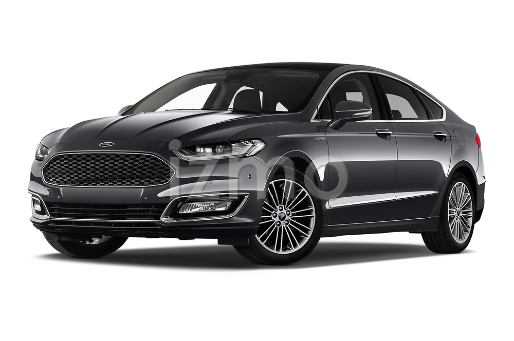 Stock pictures of low aggressive front three quarter view of 2019 Ford Mondeo Vignale 4 Door Sedan Low Aggressive