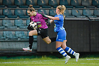 Goal keeper Silke Baccarne (1 of Aalst) and Imani Prez (11 of Gent)  pictured during a female soccer game between Eendracht Aalst and AA Gent Ladies on the 10 th matchday of the 2020 - 2021 season of Belgian Scooore Womens Super League , Saturday 19 th of December 2020  in Aalst , Belgium . PHOTO SPORTPIX.BE | SPP | DIRK VUYLSTEKE