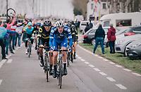 a familiar sight at the front of the peloton: Tim DECLERCQ (BEL/Deceuninck-Quick Step) leading the way<br /> <br /> 74th Omloop Het Nieuwsblad 2019 <br /> Gent to Ninove (BEL): 200km<br /> <br /> ©kramon
