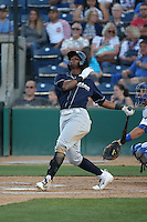 James Harris (4) of the Stockton Ports bats against the Rancho Cucamonga Quakes at LoanMart Field on July 3, 2016 in Rancho Cucamonga, California. Rancho Cucamonga defeated Stockton, 2-1. (Larry Goren/Four Seam Images)
