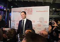Benoit Hamon ‡ son QG, quai Anatole France ‡ Paris, lors de la soirÈe du premier tour de la primaire de la gauche, le 22 janvier 2017. # BENOIT HAMON A SON QG LORS DE LA SOIREE DU 1ER TOUR DES PRIMAIRES DE LA GAUCHE