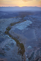 aerial photograph of Salt Creek, Death Valley National Park, northern Mojave Desert, California at sunset