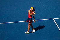8th September 2021; New York, USA;  Emma Raducanu of the Great Britain reacts after winning for women s singles quarterfinals of the 2021 US Open against Belinda Bencic of Switzerland in New York, the United States on Sept. 8, 2021. Photo by /Xinhua SPU.S.-NEW YORK-TENNIS-US OPEN-DAY 10-QUARTERFINAL-WOMEN S SINGLES MichaelxNagle