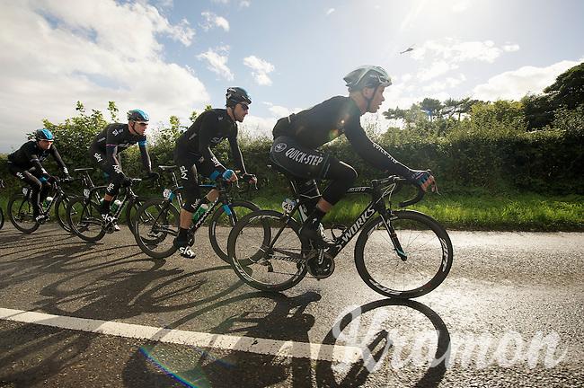 Iljo Keisse (BEL) leading the pack<br /> <br /> 2013 Tour of Britain<br /> stage 1: Peebles - Drumlanrig Castle, 209km