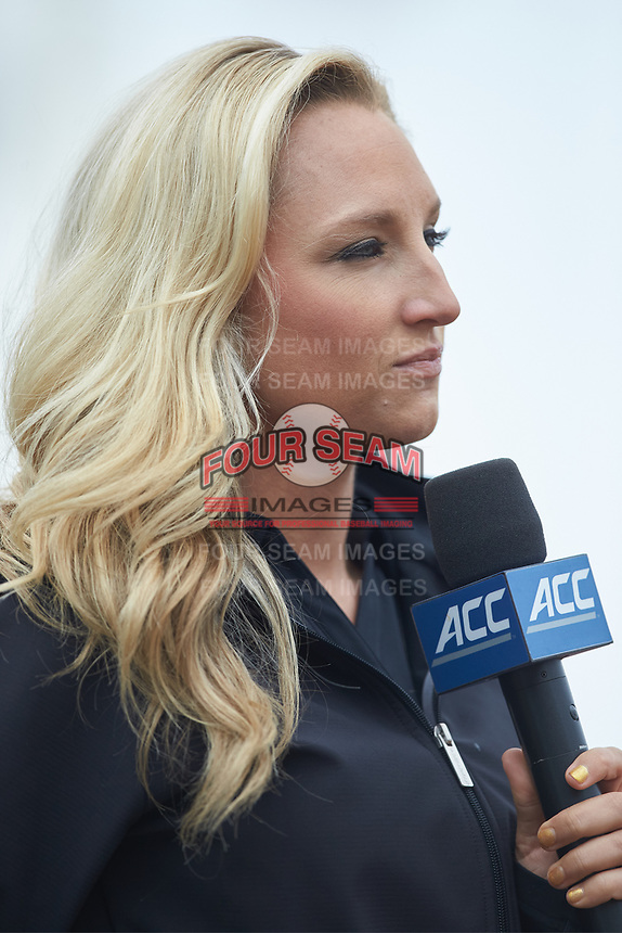 Lyndsay Rowley of the ACC Network prepares to do an interview during the baseball game between the Duke Blue Devils and the Virginia Cavaliers in Game Seven of the 2017 ACC Baseball Championship at Louisville Slugger Field on May 25, 2017 in Louisville, Kentucky.  The Blue Devils defeated the Cavaliers 4-3 to advance to the Semi-Finals. (Brian Westerholt/Four Seam Images)