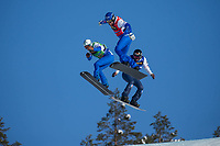 13th February 2021; Idre Fjall, Sweden;  Omar Visintin L of Team Italy 2, Lorenzo Sommariva C of Team Italy 1 and Leo le Ble Jaques of Team France 2 compete during the FIS Snowboard Cross mixed team World Championships in Idre Fjall, Sweden