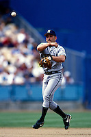Fernando Vina of the Milwaukee Brewers participates in a Major League Baseball game at Dodger Stadium during the 1998 season in Los Angeles, California. (Larry Goren/Four Seam Images)