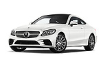 Stock pictures of low aggressive front three quarter view of 2019 Mercedes Benz C-Class AMG-Line 2 Door Coupe Low Aggressive