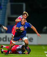 2nd October 2020; RDS Arena, Dublin, Leinster, Ireland; Guinness Pro 14 Rugby, Leinster versus Dragons; Rhys Ruddock (Leinster) breaks through a tackle from Jonah Holmes (Dragons)