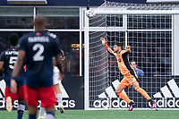 FOXBOROUGH, MA - JULY 25: James Pantemis #41 of CF Montreal leaps towards a shot on goal during a game between CF Montreal and New England Revolution at Gillette Stadium on July 25, 2021 in Foxborough, Massachusetts.