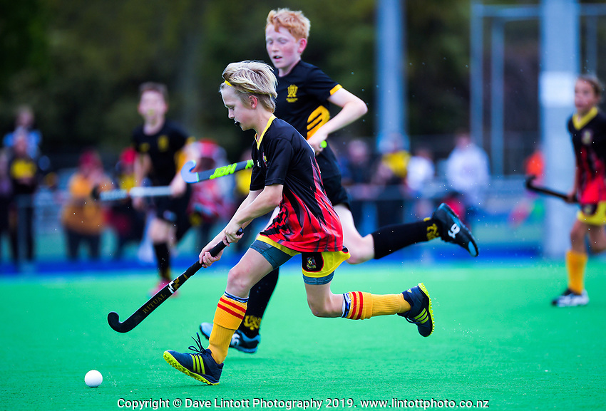 Action from the 2019 Hatch Cup Under-13 Boys' Hockey Tournament match between Wellington and Thames Valley at Fitzherbert Park Twin Turfs in Palmerston North, New Zealand on Friday, 11 October 2019. Photo: Dave Lintott / lintottphoto.co.nz