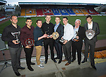 St Johnstone Player of the Year Awards...04.05.13.Pictured from left, Alan Mannus who won Jailers Tours Player of the Year, We Are Perth Online Forum Player of the Year, Barossa Street Player of the Year and StJFC Supporters Bus Muirton Sweeties Cult Hero Award, Mehdi Abeid who won the We Are Perth Forum Young Player of the Year Award, Paddy Cregg who won the We Are Perth Forum Goal of the Season, Dave Mackay who won the StJFC Supporters Bus Player of the Year, Liam Caddis who won the Barossa Street Young Player of the Year Award, David Robertson who won the Highland Saints Magic Moment Award, Tommy Campbell who won the StJFC Supporters Bus George Gordon Clubman of the Year Award and Murray Davidson who won Auchterarder Player of the Year, StJFC Business Club Player of the Year and Auchterarder Top Goalscorer.Picture by Graeme Hart..Copyright Perthshire Picture Agency.Tel: 01738 623350  Mobile: 07990 594431