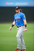 Akron RubberDucks left fielder Clint Frazier (4) during warmups before the first game of a doubleheader against the Bowie Baysox on June 5, 2016 at Prince George's Stadium in Bowie, Maryland.  Bowie defeated Akron 6-0.  (Mike Janes/Four Seam Images)