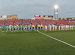FC Dallas and the Real Salt Lake players get introduced before the game between the FC Dallas and the Real Salt Lake at the FC Dallas Stadium in Frisco,Texas.