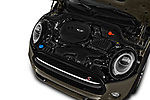 Car stock 2019 Mini Hardtop 2 Door Cooper S Signature 3 Door Hatchback engine high angle detail view