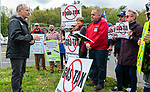 THOMASTON, CT 050821JS02—Sen. Henri Martin, R-Bristol, left, welcomes those who showed up for a rally against the Democrats' proposed $200 million tax hike on gas and mileage Saturday at the Village Service Center in Thomaston. <br /> Jim Shannon Republican American