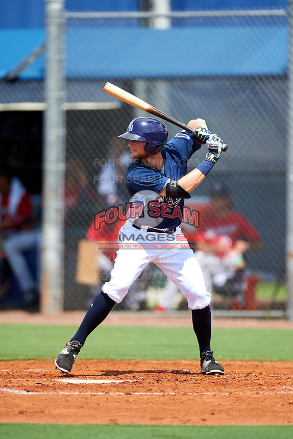 GCL Rays third baseman Allen Smoot (3) at bat during the first game of a doubleheader against the GCL Twins on July 18, 2017 at Charlotte Sports Park in Port Charlotte, Florida.  GCL Twins defeated the GCL Rays 11-5 in a continuation of a game that was suspended on July 17th at CenturyLink Sports Complex in Fort Myers, Florida due to inclement weather.  (Mike Janes/Four Seam Images)