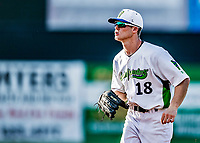 20 June 2021: Vermont Lake Monsters outfielder Sky Rahill, from Burlington, VT, trots back to the dugout from right field during a game against the Westfield Starfires at Centennial Field in Burlington, Vermont. Rahill went 1 for 2 with a walk and a two-run homer in the 8th inning, accounting for all the home team scoring, as the Lake Monsters fell to the Starfires 10-2 at Centennial Field, in Burlington, Vermont. Mandatory Credit: Ed Wolfstein Photo *** RAW (NEF) Image File Available ***