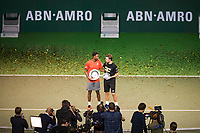 Rotterdam, The Netherlands, 17 Februari 2019, ABNAMRO World Tennis Tournament, Ahoy, Final, Gael Monfils (FRA) winner and Stan Wawrinka (SUI) during the awards ceremony,<br /> Photo: www.tennisimages.com/Henk Koster