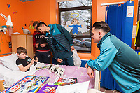 Thursday 21 December 2017<br /> Pictured: Lee Trundle, Federico Fernandez and Roque Mesa of Swansea City<br /> Re: Swansea City Childrens Ward Visit, Morriston Hospital, Swansea, Wales, UK
