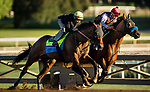 ARCADIA, CA - OCTOBER 22: West Coast, with Dreydan Van Dyke (outside) works in company with Hoppertunity and Martin Garcia at Santa Anita Park on October 22, 2017 in Arcadia, California. (Photo by Alex Evers/Eclipse Sportswire/Getty Images)