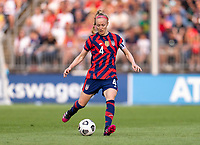EAST HARTFORD, CT - JULY 5: Becky Sauerbrunn #4 of the USWNT passes the ball during a game between Mexico and USWNT at Rentschler Field on July 5, 2021 in East Hartford, Connecticut.