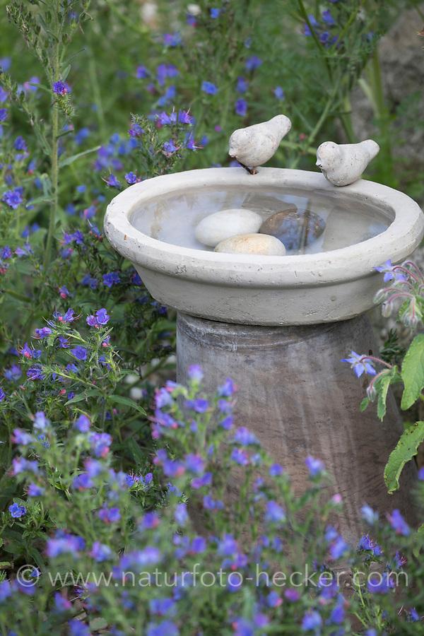 Vogeltränke, Tränke, Trinken, Wasser, Wasserschale, Trinknapf, Wasser im Garten, Vogelbad, mit Steinen im Wasser, damit hineinfallende Insekten wieder herauskriechen können, Vogelfreundlicher Garten
