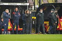 Wycombe Wanderers manager Gareth Ainsworth (centre) during the Sky Bet Championship behind closed doors match between Watford and Wycombe Wanderers at Vicarage Road, Watford, England on 3 March 2021. Photo by David Horn.