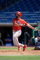 Philadelphia Phillies Luke Miller (30) hits a single during a Florida Instructional League game against the Toronto Blue Jays on September 24, 2018 at Spectrum Field in Clearwater, Florida.  (Mike Janes/Four Seam Images)